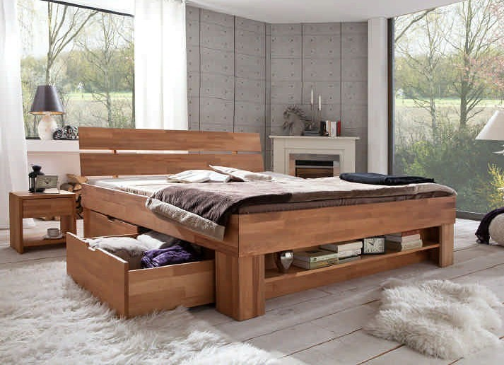 schlafzimmer sofie 3 140 mit bett 140 cm kleiderschrank 3 trg kernbuche massiv ge lt. Black Bedroom Furniture Sets. Home Design Ideas